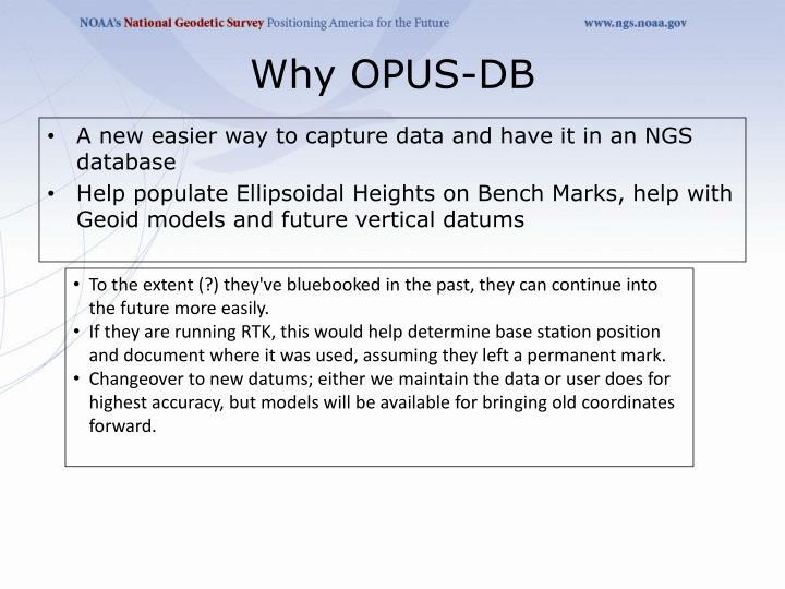Why OPUS-DB
