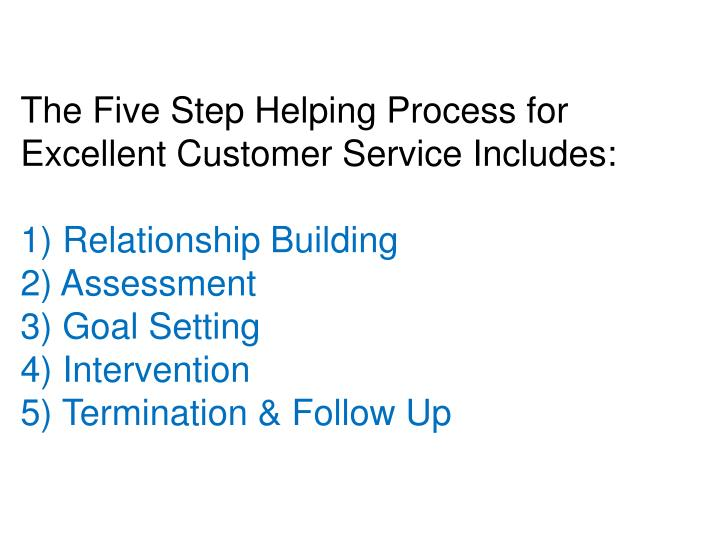 The Five Step Helping Process for Excellent Customer Service Includes: