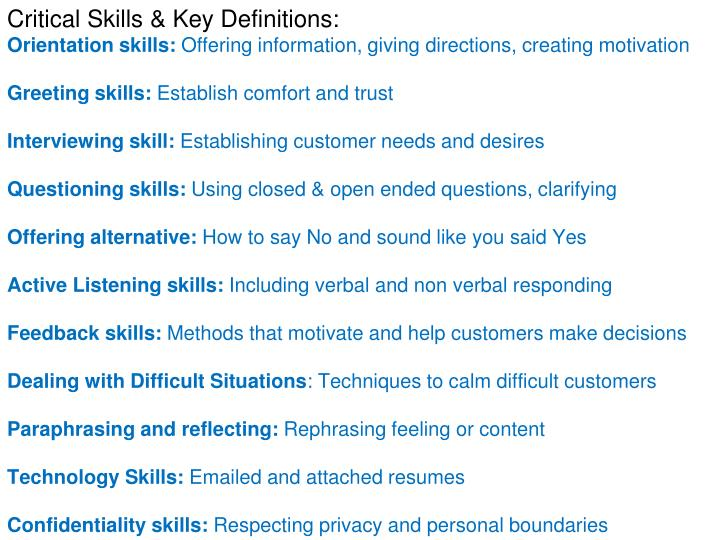Critical Skills & Key Definitions: