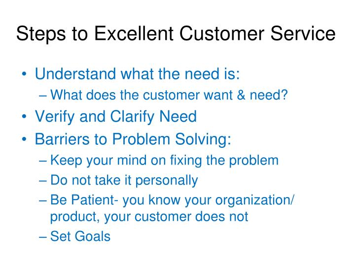 Steps to Excellent Customer Service
