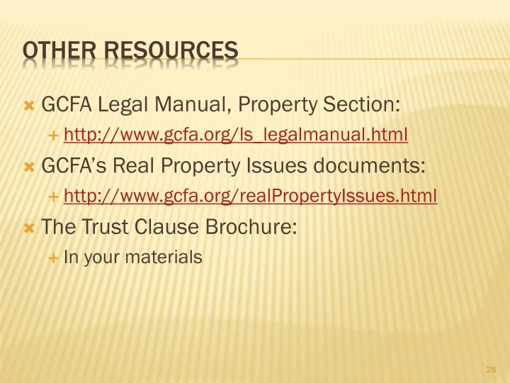 GCFA Legal Manual, Property Section: