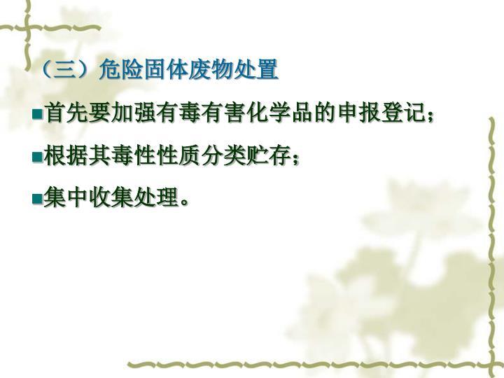 (三)危险固体废物处置