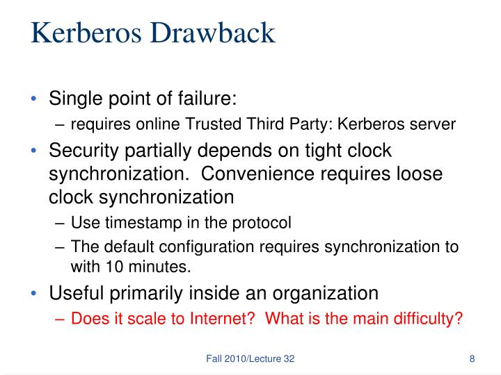 Kerberos Drawback