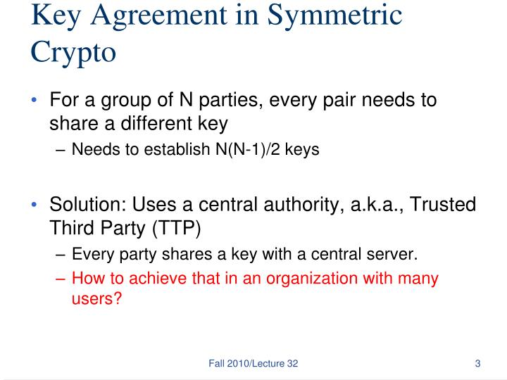 Key Agreement in Symmetric Crypto