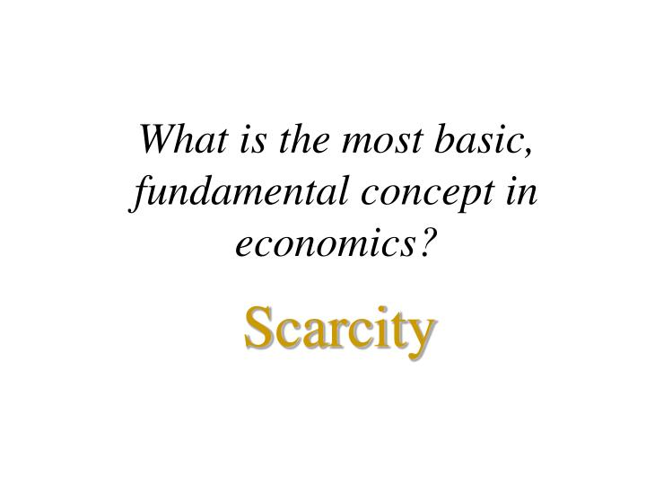 What is the most basic, fundamental concept in economics?