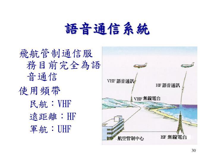 飛航管制通信服務目前完全為語音通信