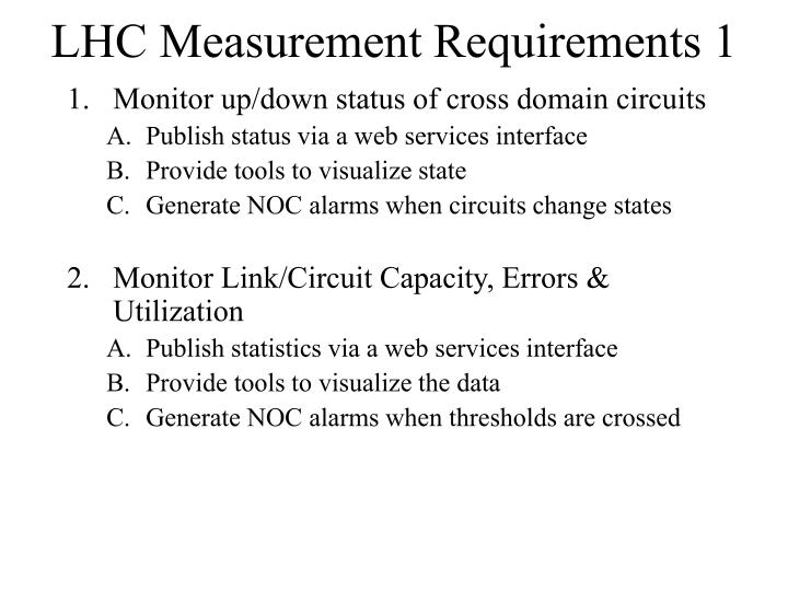 LHC Measurement Requirements 1