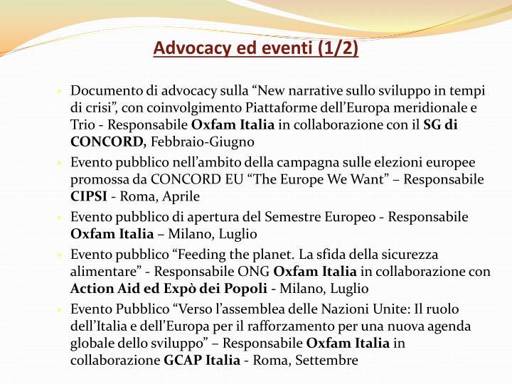Advocacy ed eventi (1/2)