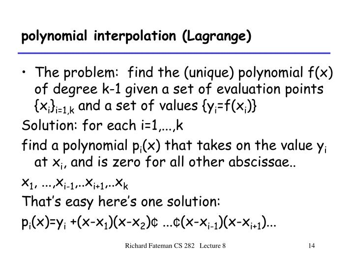 polynomial interpolation (Lagrange)