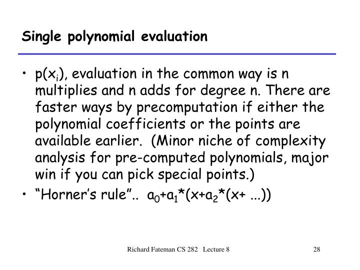 Single polynomial evaluation