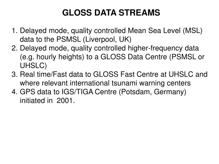 GLOSS DATA STREAMS