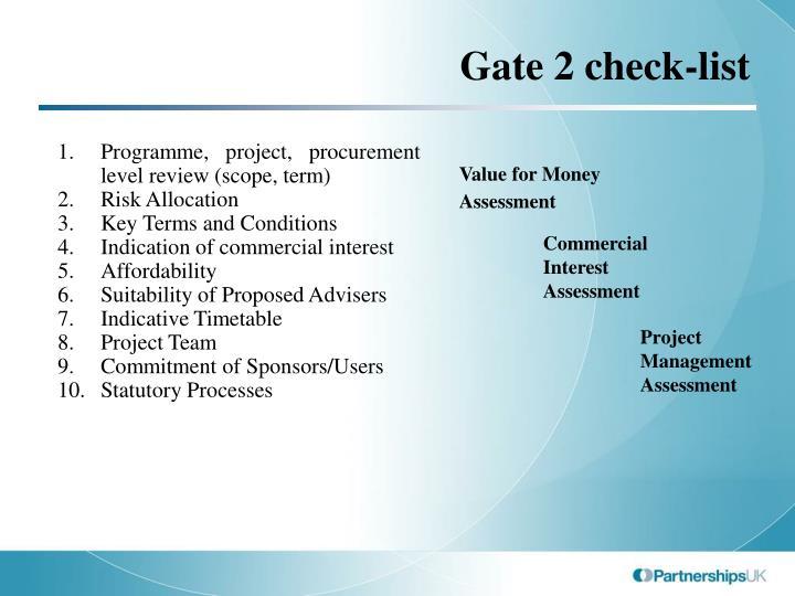 Gate 2 check-list