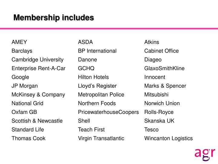 Membership includes