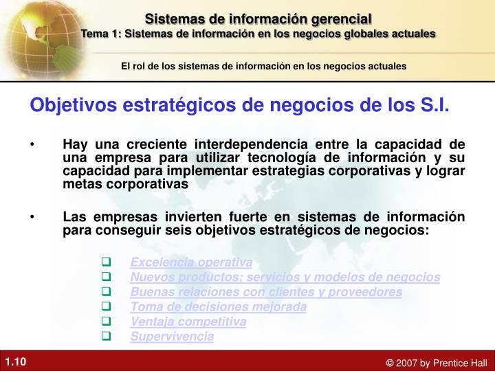 Objetivos estratégicos de negocios de los