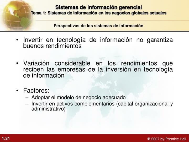 Invertir en tecnología de información no garantiza buenos rendimientos