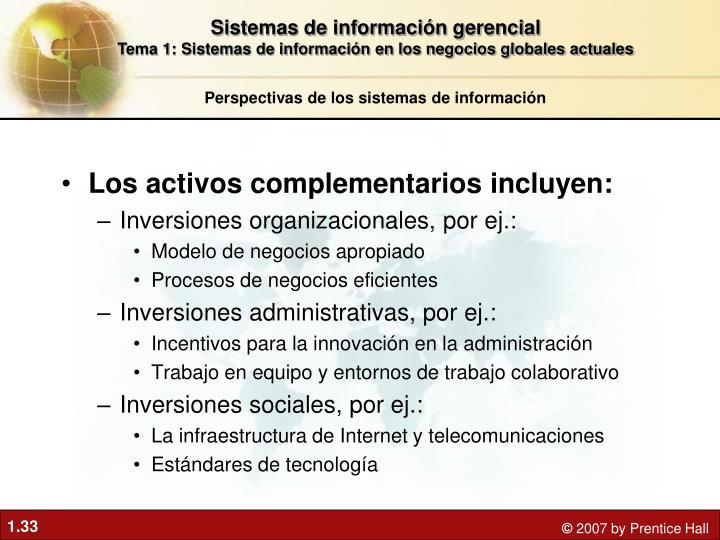 Los activos complementarios incluyen: