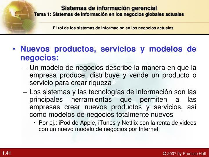 Nuevos productos, servicios y modelos de negocios: