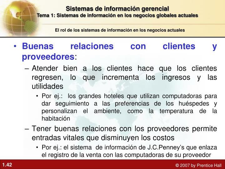 Buenas relaciones con clientes y proveedores
