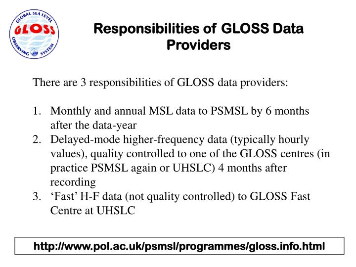 Responsibilities of GLOSS Data Providers