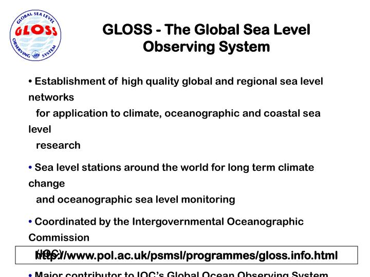 GLOSS - The Global Sea Level Observing System