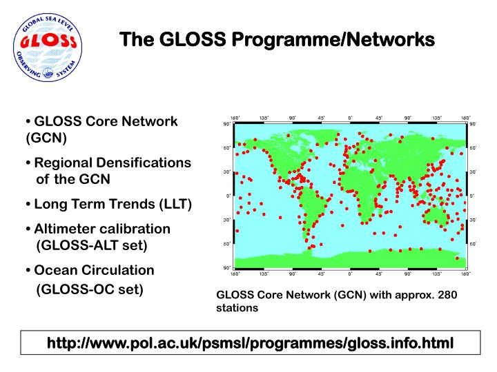 The GLOSS Programme/Networks
