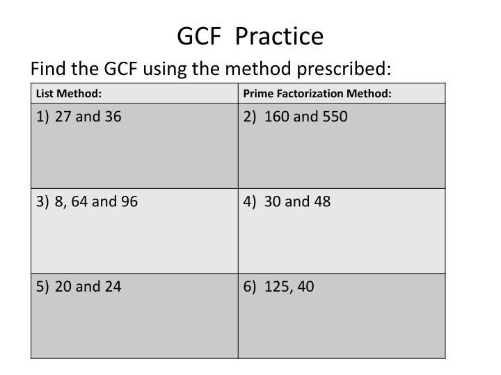 GCF  Practice