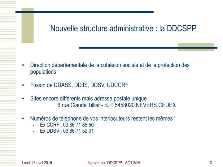 Intervention DDCSPP - AG UMIH