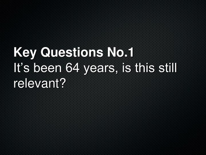 Key Questions No.1