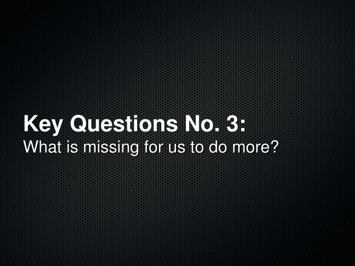 Key Questions No. 3: