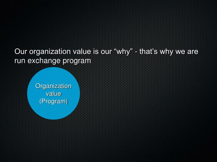 "Our organization value is our ""why"" - that's why we are run exchange program"