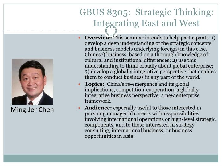 GBUS 8305:  Strategic Thinking: Integrating East and West