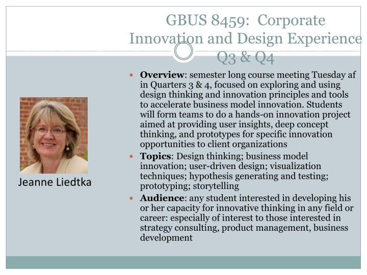GBUS 8459:  Corporate Innovation and Design Experience