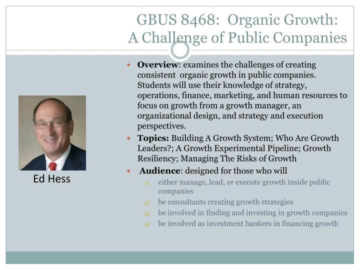 GBUS 8468:  Organic Growth: