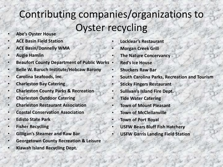 Contributing companies/organizations to Oyster recycling