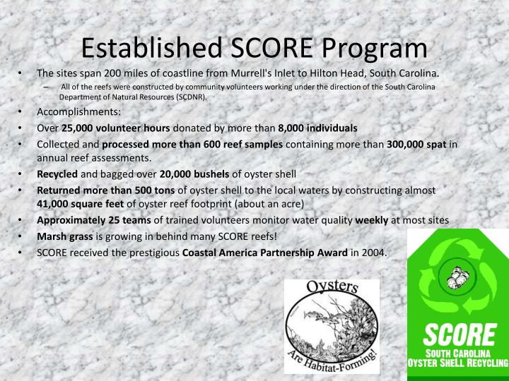 Established SCORE Program