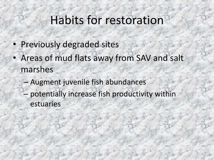 Habits for restoration