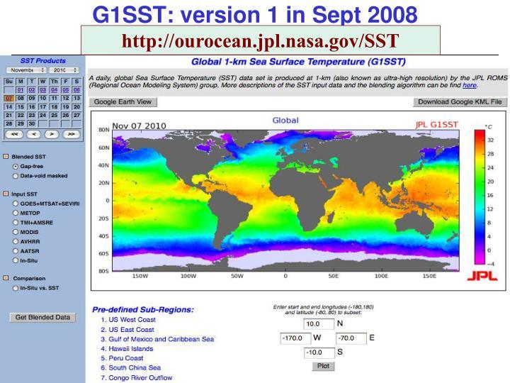 G1SST: version 1 in Sept 2008