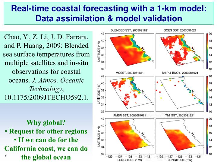 Real-time coastal forecasting with a 1-km model: