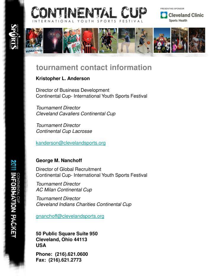 tournament contact information