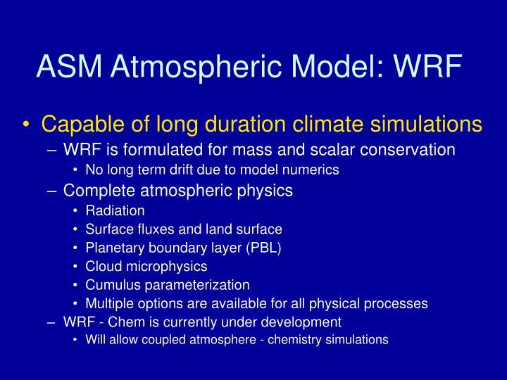 ASM Atmospheric Model: WRF