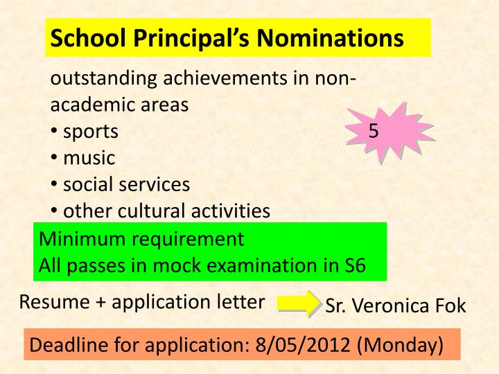 School Principal's Nominations