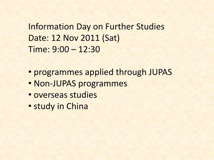 Information Day on Further Studies