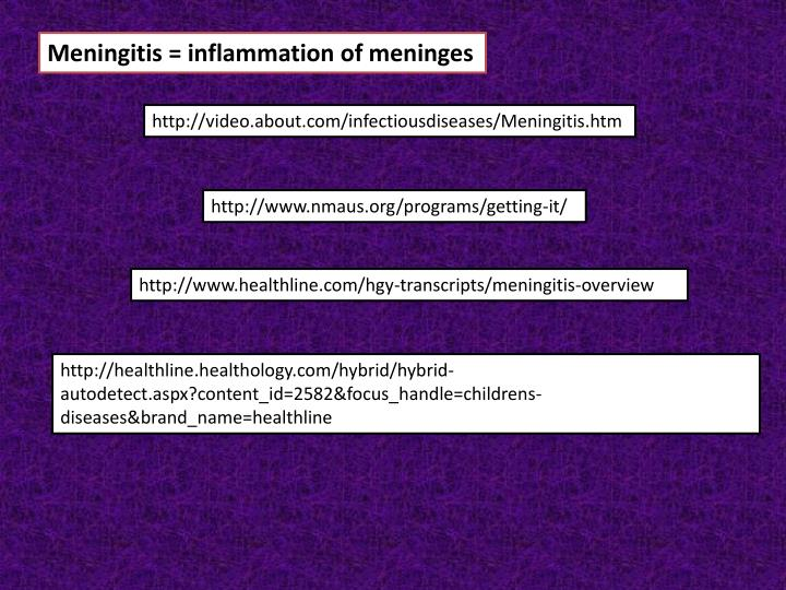 Meningitis = inflammation of