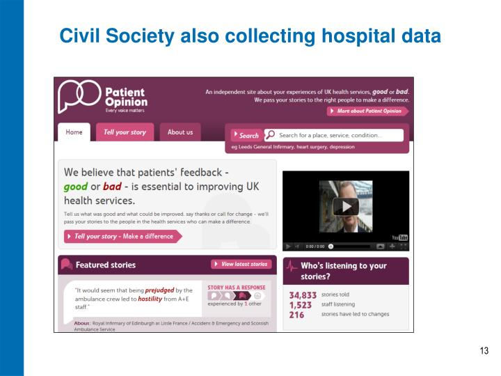 Civil Society also collecting hospital data