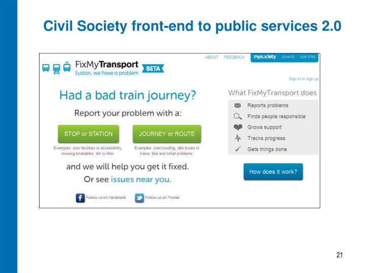 Civil Society front-end to public services 2.0