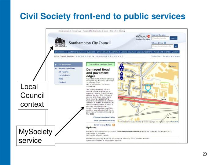 Civil Society front-end to public services
