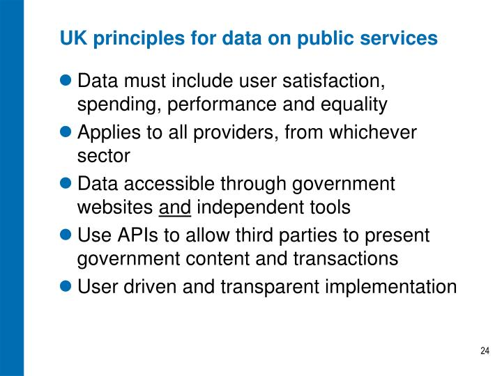 UK principles for data on public services