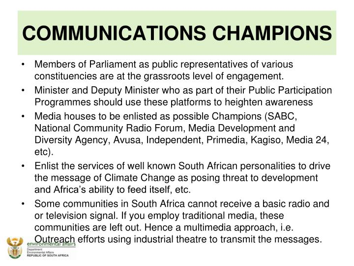 COMMUNICATIONS CHAMPIONS