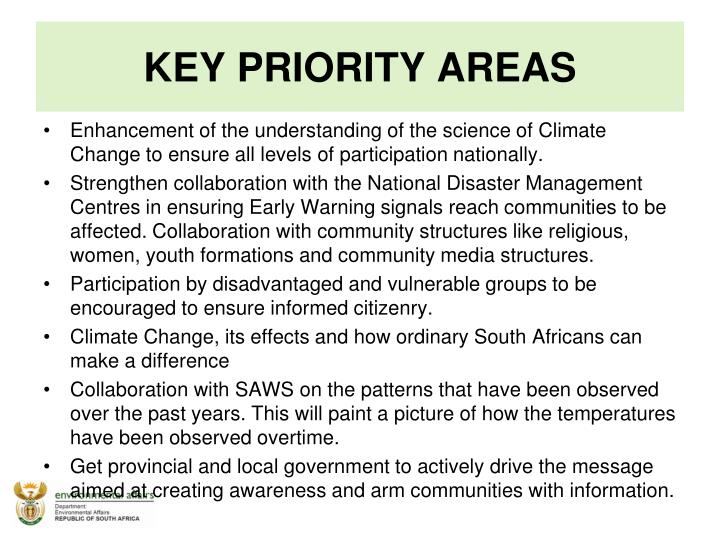 KEY PRIORITY AREAS