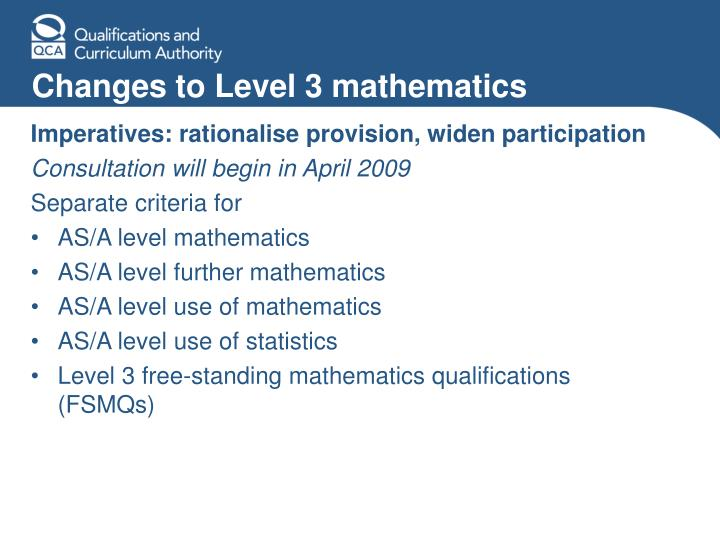 Changes to Level 3 mathematics